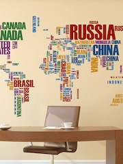 Aspire decals and stickers buy aspire decals and stickers online aspire multicoloured world map with country names wall sticker gumiabroncs Images