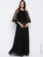 RARE Women Black Lightweight Solid Maxi Dress