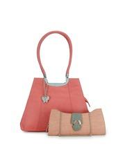 Butterflies Pink & Beige Shoulder Bag With Clutch