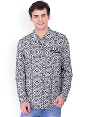 Oxolloxo Men Blue Classic Fit Printed Casual Shirt