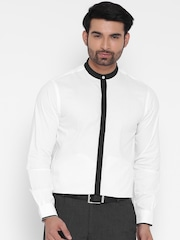 Wills Lifestyle Men White Slim Fit Self-Striped Semiformal Shirt