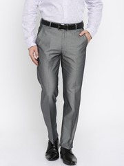 Four One Oh Men Grey Slim Fit Formal Trousers