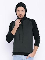 Basics Grey & Black Colourblocked Hooded Sweatshirt