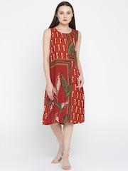 Lydiane Dark Rust Side Pocket A Line Dress