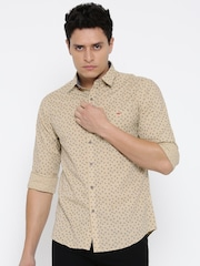 Wills Lifestyle Men Beige Slim Fit Printed Casual Shirt
