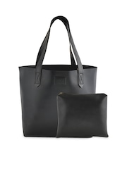 Yelloe Black Tote Bag With Pouch