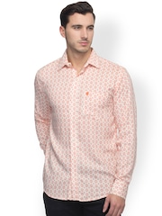 Oxolloxo Men Peach-Coloured Printed Classic Fit Casual Shirt
