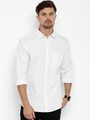 CODE by Lifestyle Men Off-White Slim Fit Self-Design Semi Formal Shirt