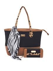 Esbeda Black Brown Colourblocked Shoulder Bag With Wallet Scarf