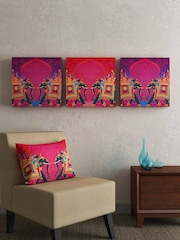 SEJ By Nisha Gupta Purple U0026 Pink Set Of 3 Folk Framed Wall Paintings