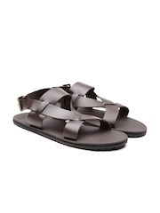 United Colors of Benetton Men Coffee Brown Strappy Genuine Leather Sandals