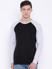 Blue Saint Men Black Round Neck T-shirt