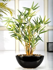 Fourwalls Green Yellow Artificial Bamboo Plant With Ceramic Pot