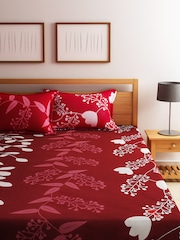 Merveilleux Home Ecstasy Red Floral Print Cotton Double Bedsheet With 2 Pillow Covers