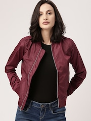 all about you from Deepika Padukone Women Maroon Solid Bomber Jacket