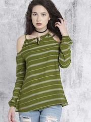 Roadster Women Olive Green Striped Top