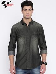 Roadster Men Charcoal Grey Slim Fit Faded Casual Shirt