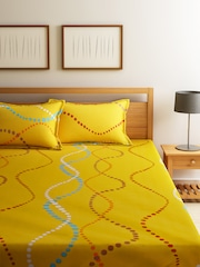 Home Ecstasy Yellow 104 TC Cotton Double Bedsheet with 2 Pillow Covers