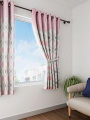 Raymond Home Pink White Printed Single Window Curtain