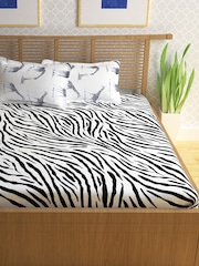 Beau Storyhome Black White Cotton 186 TC Double Bedsheet With 2 Pillow Covers