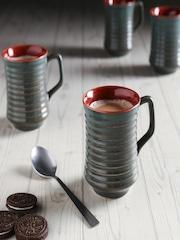 Unravel India Black Set Of 6 Ceramic Coffee Mugs