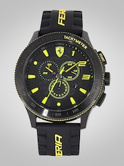 francis s with watches men sports accents image scuderia black leather chronograph heritage gaye yellow jewellers strap mens watch ferrari
