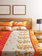 Dreamscape Off-White & Mustard Brown Cotton 144 TC Double Bedsheet with 2 Pillow Covers