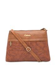 ESBEDA Tan Brown Textured Sling Bag