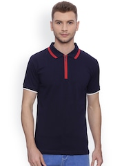 Blue Saint Men Navy Blue Solid T-shirt