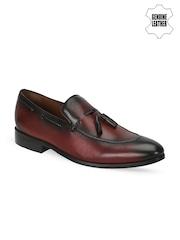 BRUNE Men Burgundy Genuine Leather Semiformal Slip-Ons