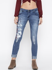 Roadster Women Blue Printed Skinny Fit Mid-Rise Low Distress Stretchable Jeans