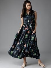 HERENOW Women Navy Printed Maxi Dress
