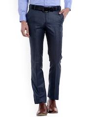 Solemio Men Blue Original Regular Fit Self Design Formal Trousers