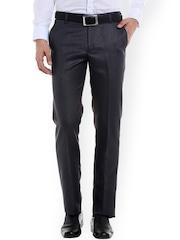 Solemio Men Grey Original Regular Fit Self Design Formal Trousers