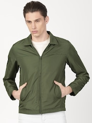 ether Men Olive Green Solid Tailored Jacket