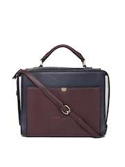 Accessorize Navy Burgundy Colourblocked Sling Bag