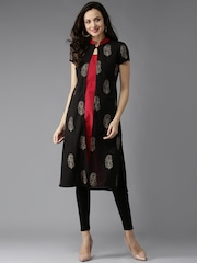 HERE&NOW Women Black & Red Printed Layered A-Line Kurta