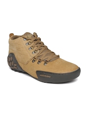 Woodland Men Brown Leather Trekking Shoes