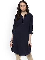 Jaipur Kurti Women Blue Solid Straight Kurta