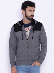 Difference of Opinion Men Grey & Black Colourblocked Hooded Sweatshirt