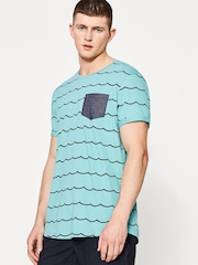 ESPRIT Men Sea Green Printed Round Neck T-shirt
