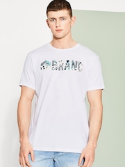 ESPRIT Men White Printed Round Neck T-shirt