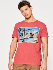 ESPRIT Men Pink Printed Round Neck T-shirt