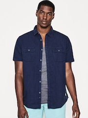 ESPRIT Men Navy Blue Solid Casual Shirt