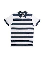ESPRIT Men Navy Blue & White Striped Polo Collar T-shirt