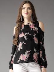 34187164050d2 HERE NOW Women Black Lightweight Floral Print Cold Shoulder Top