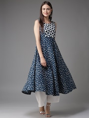 HERE&NOW Women Blue & Off-White Printed A-Line Kurta