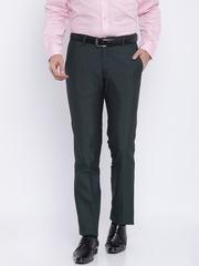 John Miller Men Navy Classic Slim Fit Solid Formal Trousers