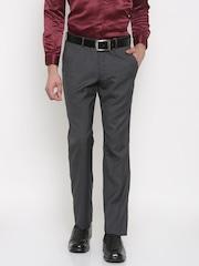 John Miller Men Grey Classic Slim Fit Self Design Formal Trousers