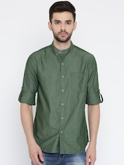 HERE&NOW Men Green Regular Fit Solid Casual Shirt